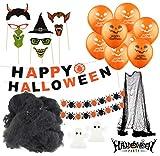 Halloween Deko Grusel Dekoration Set mit über 30 Teilen Deckenhänger Grusel Girlande, Wimpelkette,...