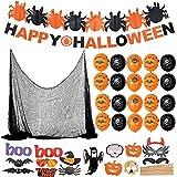 F2 Faburo Halloween Deko XXL Set Grusel Dekoration Halloween Girlande Luftballon Spinnennetz Vorhang...