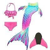 DIIQII Halloween Mädchen Meerjungfrau Schwänze zum Schwimmen mit Meerjungfrau Flosse,...