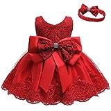 LZH Baby Mädchen Spitzenkleid Bowknot Blume Kleider Hochzeitswettbewerb Taufe Tutu Kleid