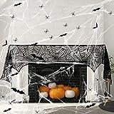 Wishstar Halloween Spinnennetz Deko Set, Schwarz Spitze Spinnennetz Kamin Tür Dekostoff mit 60g...