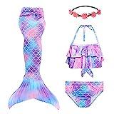RIKILIO 4 Stück Mädchen Meerjungfrauenschwanz zum Schwimmen 130cm Meerjungfrau Badeanzug mit...
