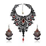 SEELOK 3Stk Schwarze Spitze Halskette mit Ohrringe Set, Gothic Schmuck Red Kette Lolita Anhänger...