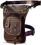 Le'aokuu Herren Echtes Leder Tasche Hüfttasche Beinbeutel Kleines Haken Tasche Messenger Bag 2141...