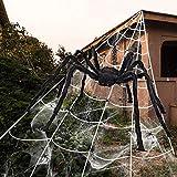 iZoeL Halloween Deko 700cm Riesige Spinnennetz + 200cm Spinne + Spinnweben + 30 Mini Spinne,...