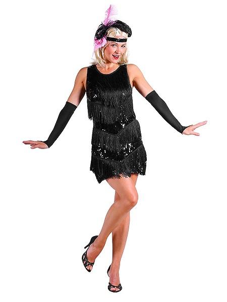 20er Jahre Charleston Kleid Kostüm Damen schwarz