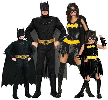 Gruppenkostüm Fasching Karneval Halloween Batman Batgirl 4 Personen