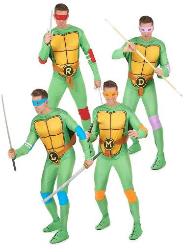 Gruppenkostüm Fasching Karneval Halloween Ninja Turtles 4 Personen