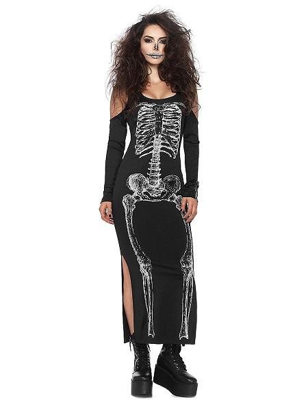 Halloween Kostüm Damen Skelett