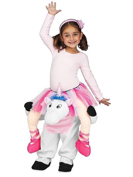 Lustiges Kostüm Kinder Mädchen Einhorn Huckepack Carry Me Kostüm
