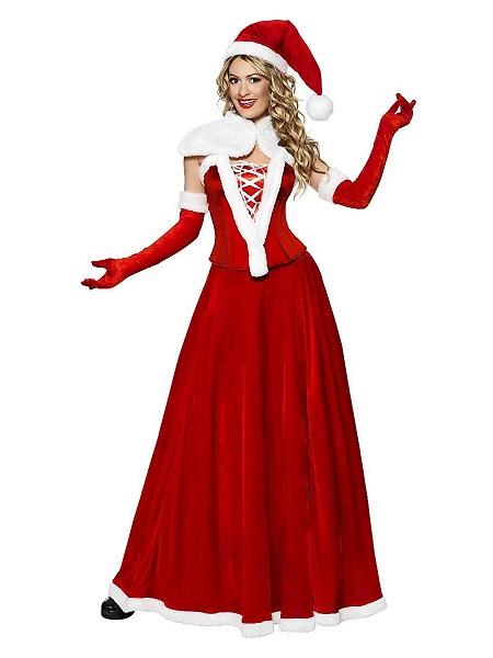 Nikolaus Weihnachtsmann Weihnachtsfrau Kostüm Damen