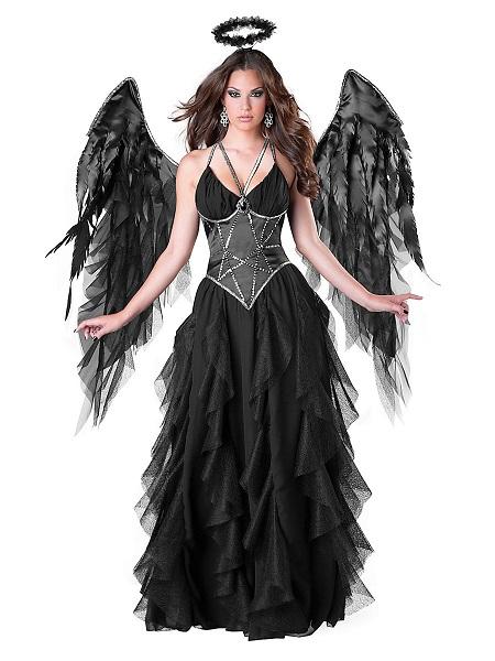 Gefallener Schwarzer Engel Kostüm Todesengel Kostüm Damen Erwachsene