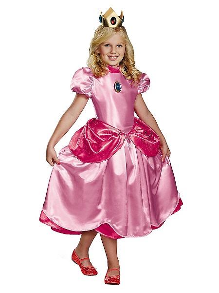 Prinzessin Peach Kostüm Kleid Kinder Mädchen